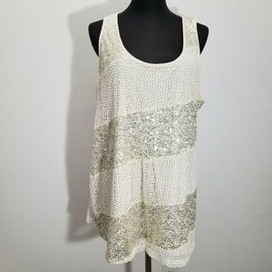 Lane Bryant Top Lace Overlay Sequin Sleeveless